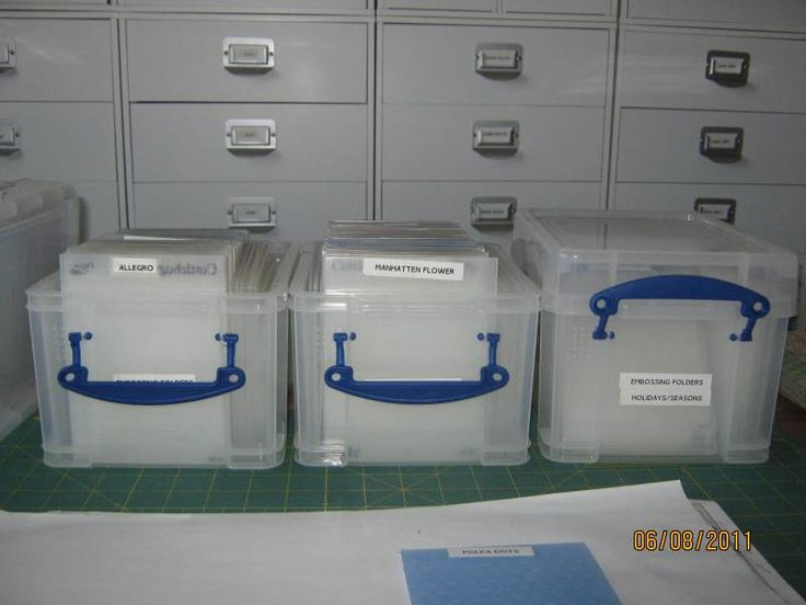 "I store all my embossing folders in these 3L Really Big boxes from Office Depot. They are $5.00 each and normally buy two get one free. They are available in different colors. I store the folders alphabetically by company. I did not count the number of folders in each of the three boxes I currently use but the one starting with ""M"" has 69 folders in it with room for more yet."