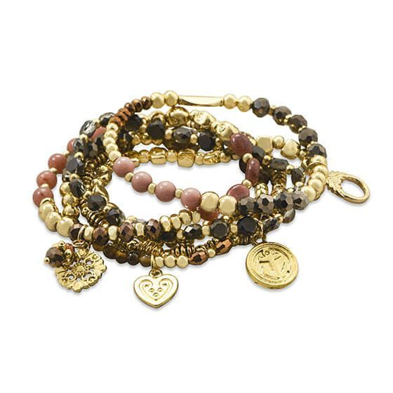 Set of 6 Gold Tone Multicharm Fashion Stretch Bracelets with Brown Beads