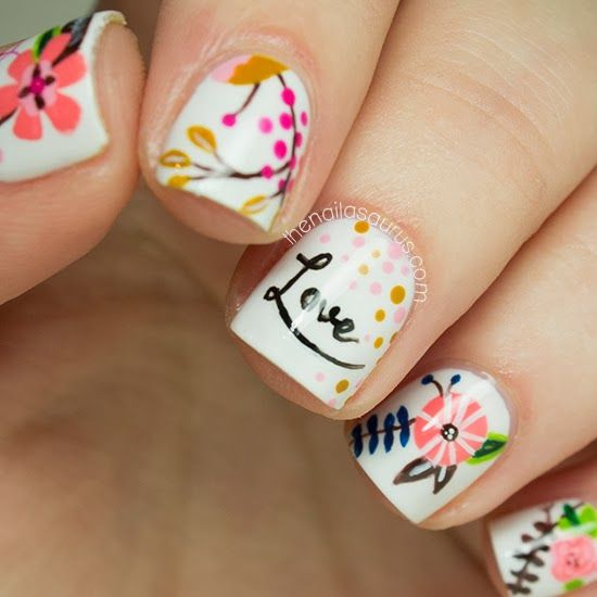 Nail art - Freehand Nail Art Inspired by LucyDarlingPrints