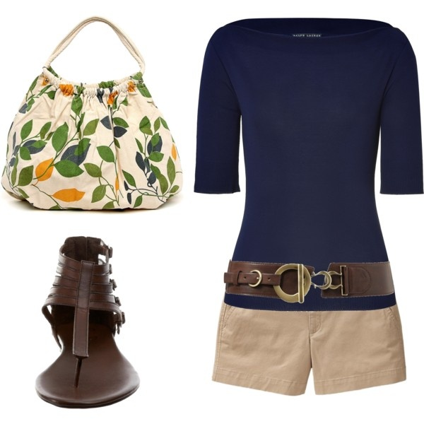 Navy and Brown, created by styleofe.polyvore.com..find a cheaper blue topSummer Collection, Fashion, Summer Outfit, Navy And Brown, Style, Clothing, Polyvore, T Shirts, Khakis Shorts