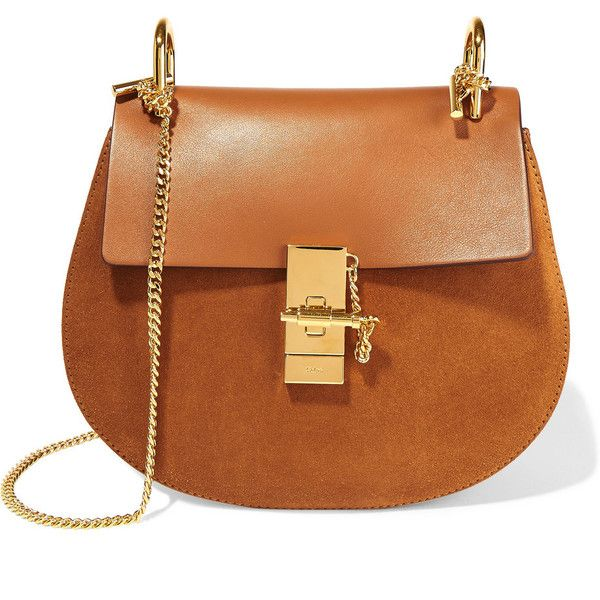 Chloé Drew small leather and suede shoulder bag (26.471.260 IDR) ❤ liked on Polyvore featuring bags, handbags, shoulder bags, purses, camel, brown leather purse, cell phone shoulder bag, man bag, shoulder hand bags and handbags shoulder bags