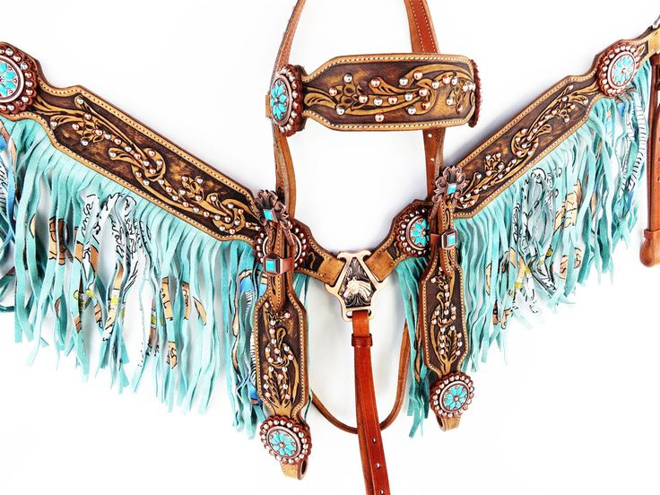 TEAL SILVER WESTERN LEATHER HORSE FRINGE BRIDLE HEADSTALL BREASTCOLLAR TACK SET   eBay