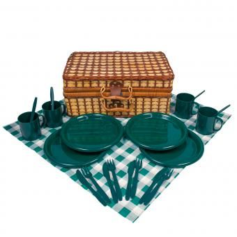 Picknickkorb Bambus Picknick Korb + Geschirr Besteck Picknickdecke - 4 Personen