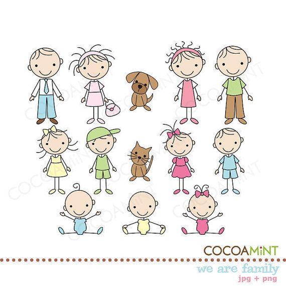 Wir sind Familie Strichmännchen ClipArt von cocoamint auf Etsy