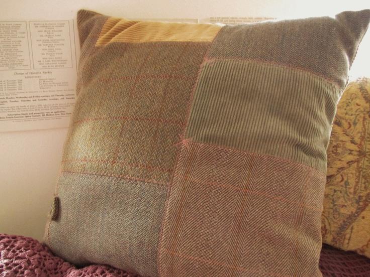 Handmade Vintage Harris Tweed Plaid Country House Patchwork Pillow Cushion. £38.00, via Etsy.