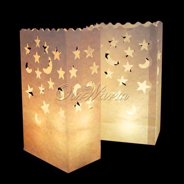 20 Pçs/lote Estrela Lua Chá Titular luz Luminaria Lanterna De Papel Vela Bolsa Para Festa de Natal Em Casa Decoração de Casamento…