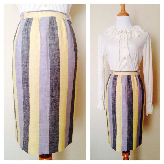 Beautiful Buttery Yellow & Blues Striped Linen Skirt! Perfect for Summer Strolls to Work and an Evening Out. In Impeccable Condition. Fully Lined with
