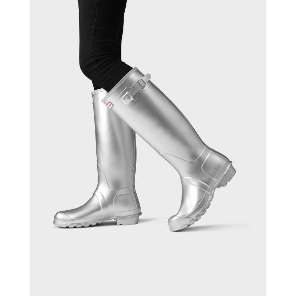 Hunter Women's Original Tall Rain Boots Silver - Hunter Boots #hunterboots #rainboots #boots #ss17