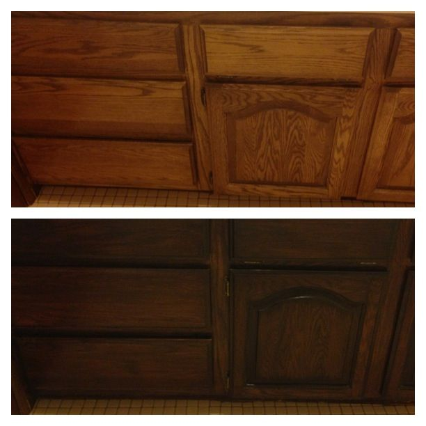 The Best Wall Colors To Update Stained Cabinets: My Latest Transformation With Gel Stain Java. I Only Did