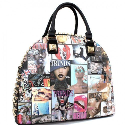 Black Magazine Stud Bowler Styler Satchel Bag