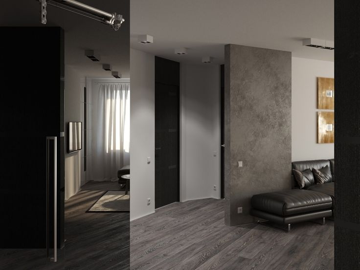 Apartment for a young couple 990 sq.ft. ( 92 sq.m.) / Hallway with a wardrobe  / Rendering / Software: 3ds max, PS