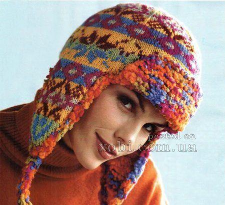 шапка-ушанка с жаккардовым орнаментом