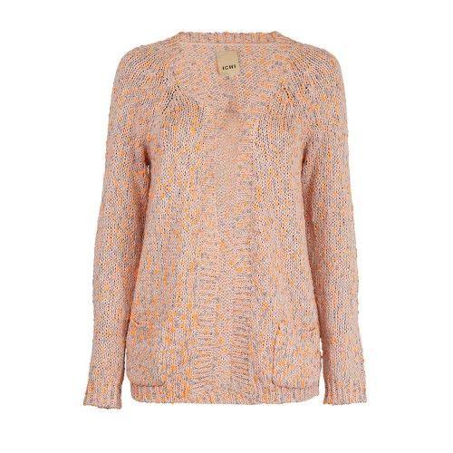 Vrolijke vest met oranje en grijze bolletjes. Mooie pasvorm, licht getailleerd en erg comfy! van ICHI | Fashion Exclusive