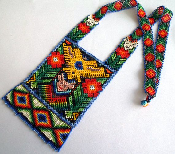 Huichol Beaded Eagle Deer and Peyote necklace by Aramara on Etsy