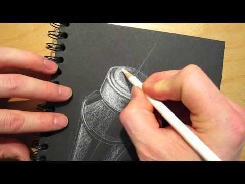 "White prismacolor pencil ""ID"" Industrial Design sketch on black paper tutorial"