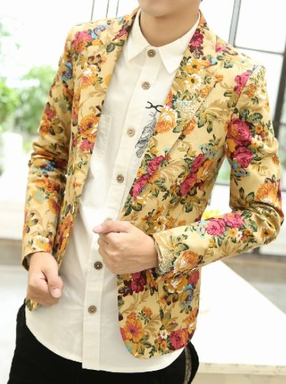 *Fashionable Beige Floral Print Blazer | www.pilaeo.com #men's #luxury #fashion