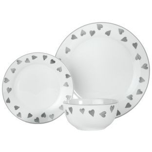 Buy HOME 12 Piece Porcelain Dinner Set - Grey Hearts at Argos.co.uk  sc 1 st  Pinterest & The 30 best Kitchen Tableware and Dining images on Pinterest ...