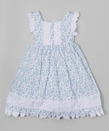 Look at this #zulilyfind! White & Blue Floral Dress - Infant, Toddler & Girls #zulilyfinds