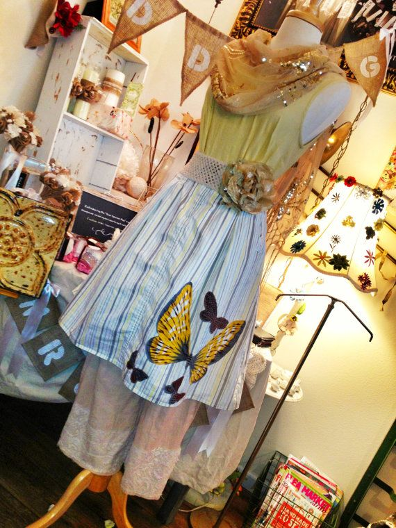 GYPSY PLANTATION:Womens Lagenlook gypsy prairie mori girl stripe full appliqued butterfly skirt size M/L via Etsy
