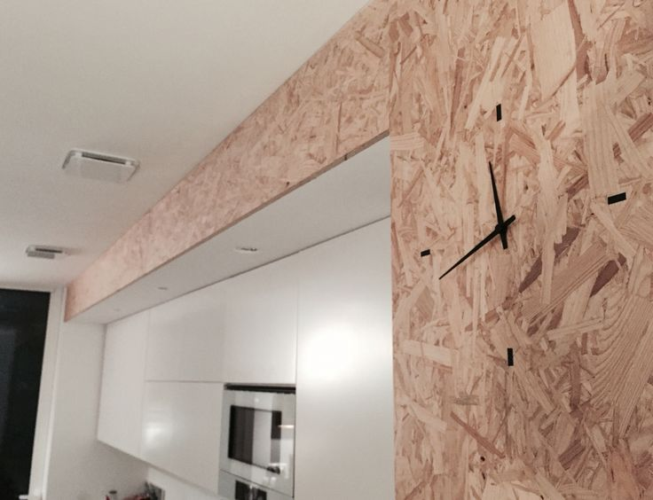Horloge murale int gr e cuisine contemporaine en bois osb for Cuisine integree
