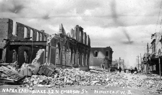 Emerson Street, Napier 70656 The photograph shows Emerson Street, Napier after the devastating earthquake and subsequent fire which occurr...