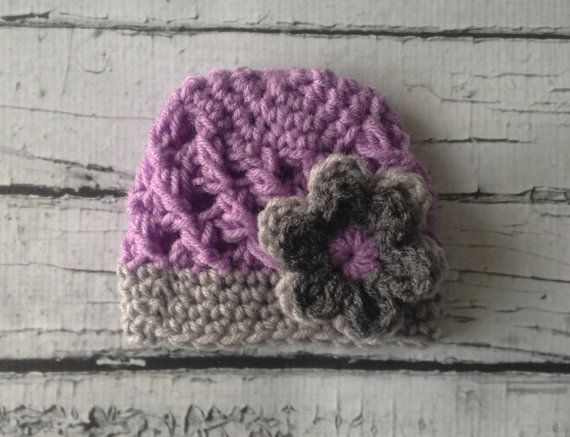 Baby girl crochet beanie, Purple/Grey Girl's Crochet Hat with  Flower, newborn photography prop