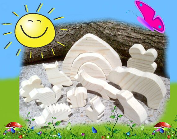 Big Set of Natural Wooden Animals with Stacker Cave