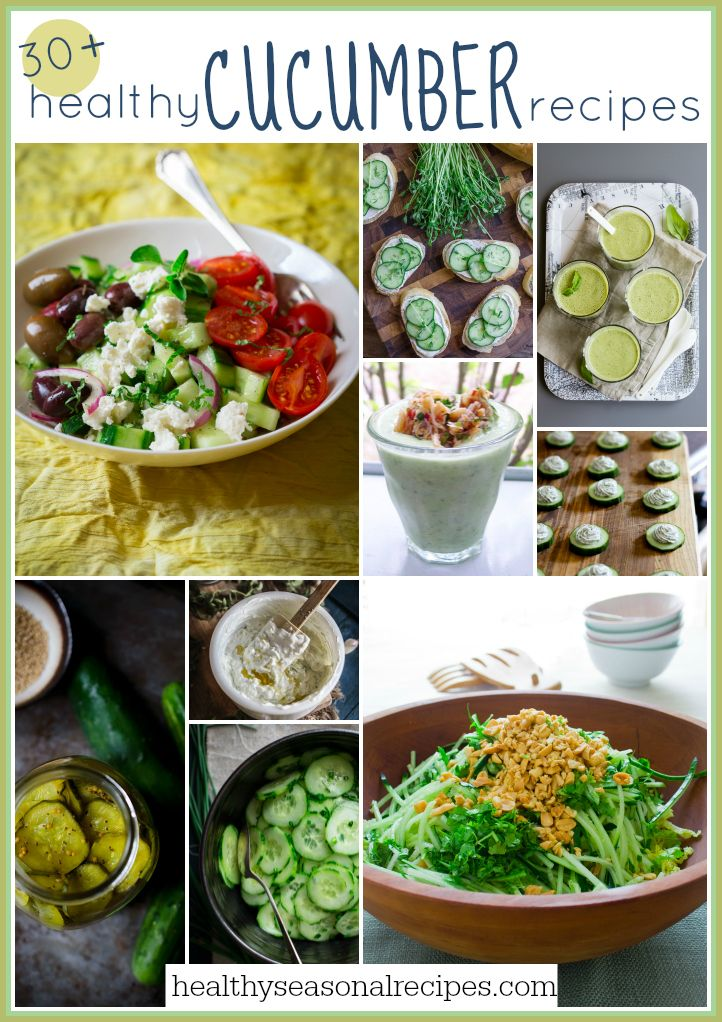 30 plus healthy cucumber recipes on healthyseasonalrecipes.com #cucumber