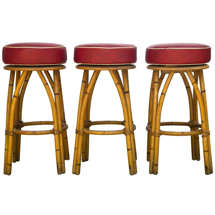 Heywood Wakefield Rattan Bar Stools   From a unique collection of antique and modern stools at https://www.1stdibs.com/furniture/seating/stools/