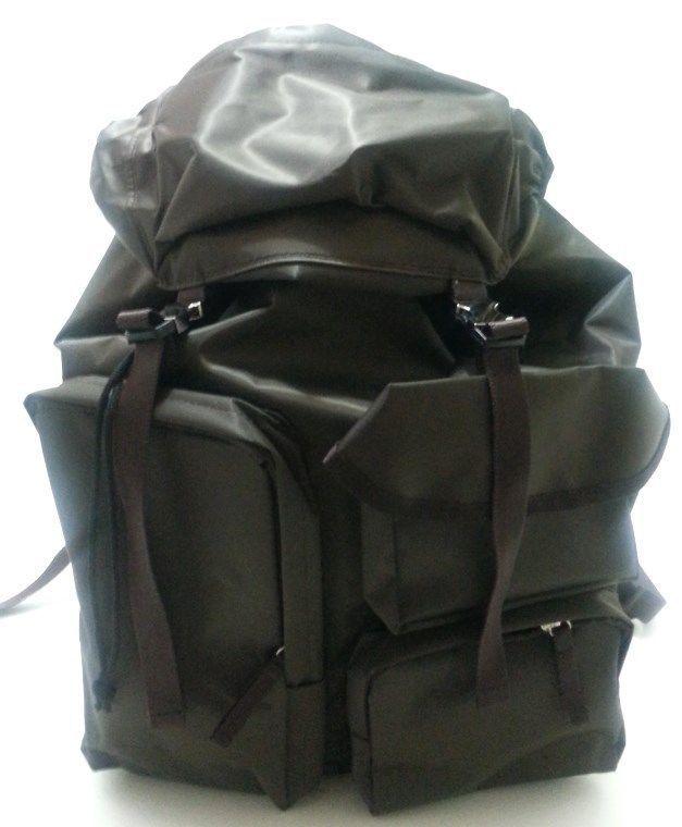 Korea Unisex Multiple Pocket Backpack School Travel Riding Climbing Bag Brown