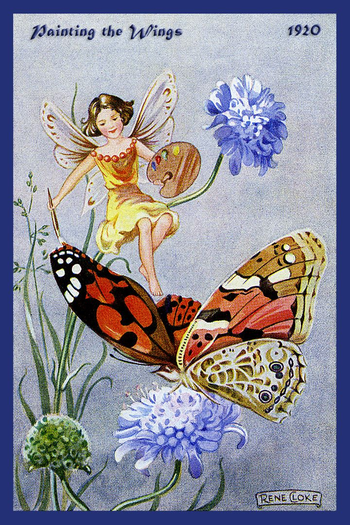 Painting the Wings Fairy by Rene Cloke from the 1920s. Quilt Block of vintage fairy image printed on cotton. Ready to sew.  Single 4x6 block $4.95. Set of 4 blocks with pattern $17.95.