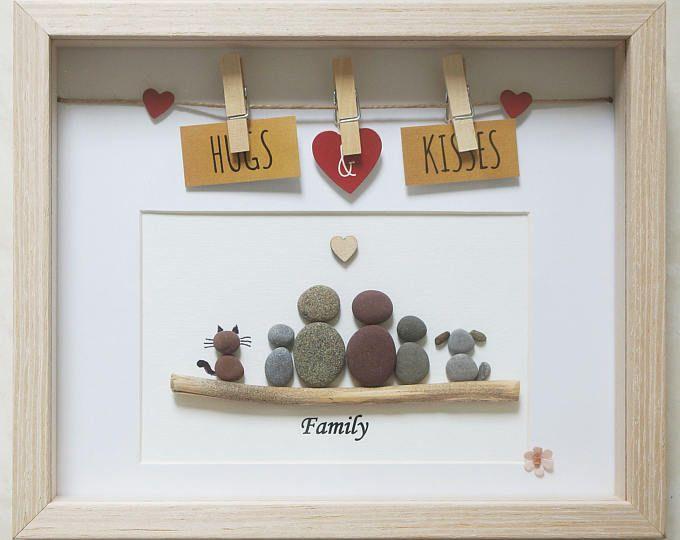 Guijarro arte enmarcado cuadro - familia