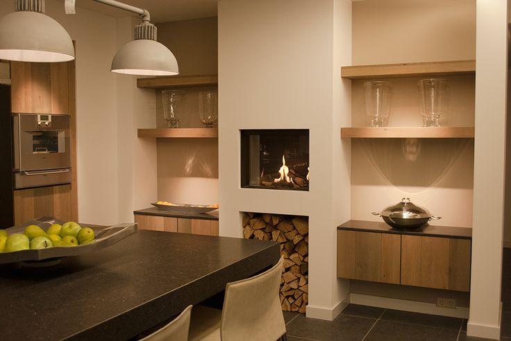 25 beste idee n over keuken open haarden op pinterest hout brandende open haarden en houtkachel - Open haard keuken photo ...