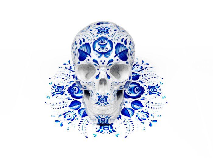 A bela arte popular russa sobre crânios ornamentados stylo urbano-1