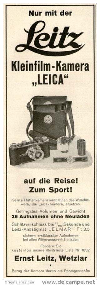 Original-Werbung/ Anzeige 1928 -  LEICA KAMERA / ERNST LEITZ WETZLAR - ca. 70 x  220 mm