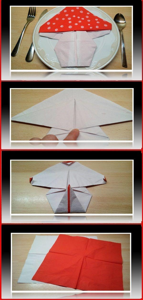 Servietten Falten Pilz Serviettenfalten Origami