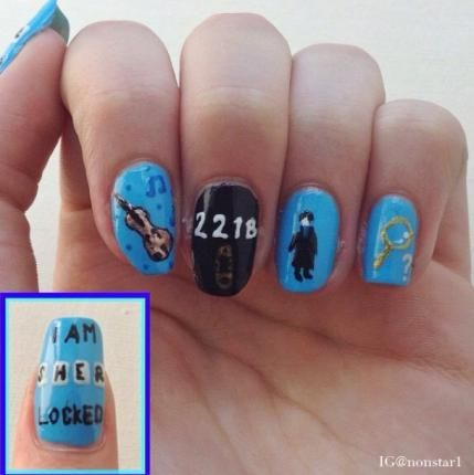 Sherlock Nails! Sherlock Holmes, BBC, Benedict Cumberbatch, 221 B Baker Street, I am #Sherlocked, Aren't You? Violin, Magnifying Glass, NonStar1, Nailpro Magazine