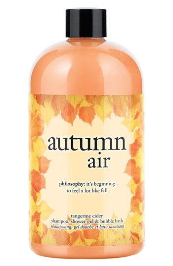philosophy 'autumn air' tangerine cider shampoo, shower gel  bubble bath.....can't wait to try this
