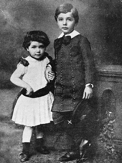 "Young Albert Einstein & sister. ""Education is what remains after one has forgotten everything he learned in school."" ~ A.E."