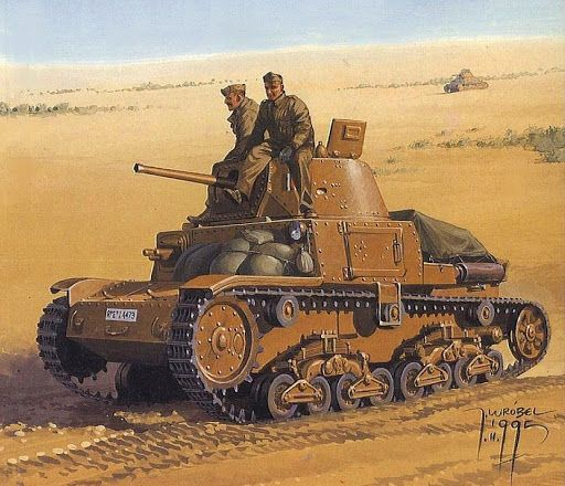 Carro italiano M13 en el desierto.  Más en www.elgrancapitan.org/foro/