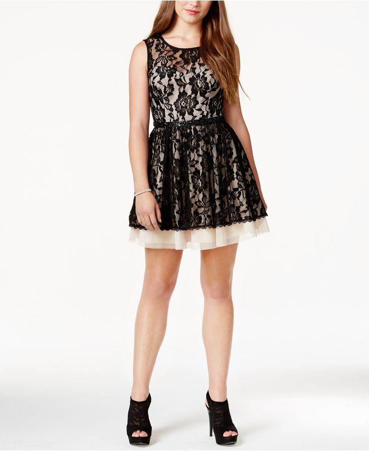 B darlin juniors contrast lace party dress juniors