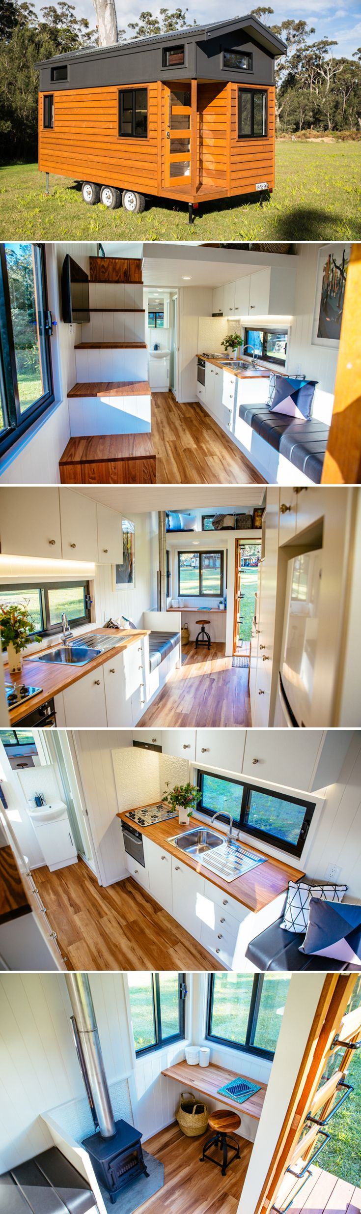A 8'x20' tiny house with two lofts: one large bedroom loft and one storage/single sleeper loft. Solar power system with three panels and LED lighting.