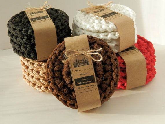 Crocheted Coasters 4 set/crochet cup pads/Drinks coaster/glass,mug,cup coaster/crochet rope mats/housewarming gift/birthday gift/