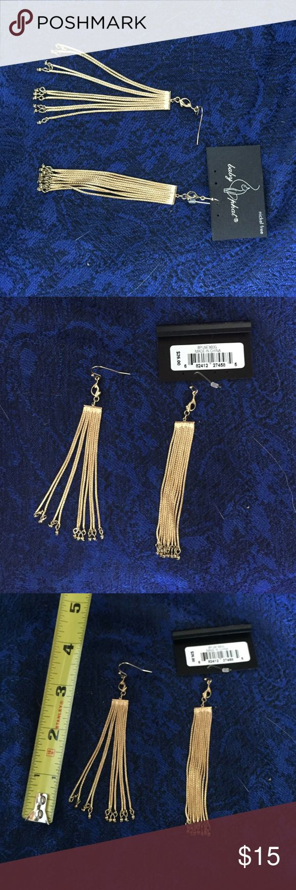 Gold colored dangling earrings from Baby Phat Dainty gold dangling earrings from Baby Phat. Brand new. Never worn. With tags Baby Phat Jewelry Earrings