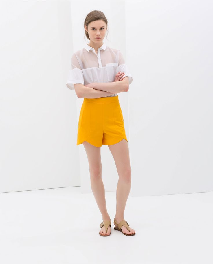 Zara Shorts with Front Cuts in Yellow (Tangerine)   Lyst