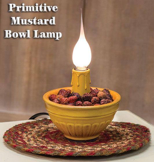 KP Creek Gifts - Primitive Mustard Bowl Lamp