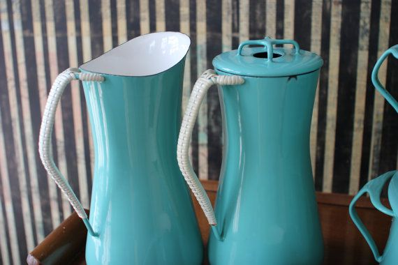 Vintage Dansk Kobenstyle esmalte utensilios / Dansk Set /