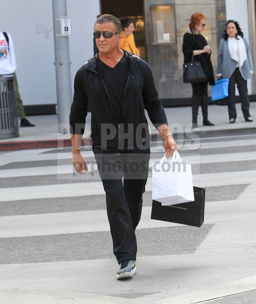Sylvester Stallone Sighted Shopping in Beverly Hills on February 14 2018