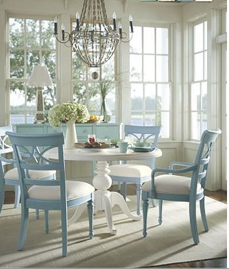 love this roomall the windowspretty pastel blue chairs - Colorful Dining Room Tables