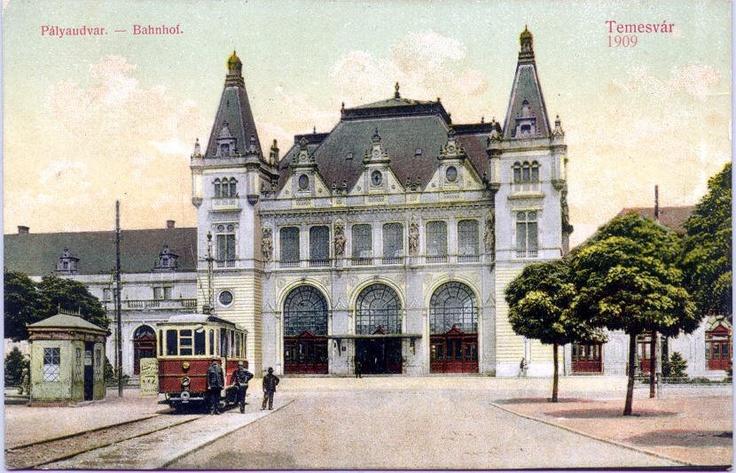 Timisoara - 1909 - Gara Josefin şi piaţa din faţa acesteia